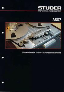 STUDER A807 - Professionelle Universal Tonbandmaschine