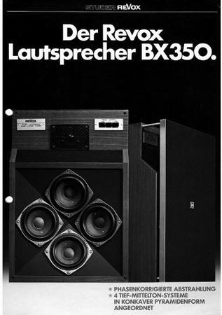 Dieses kleine Prospekt informiert über den ReVox Lautsprecher BX350.