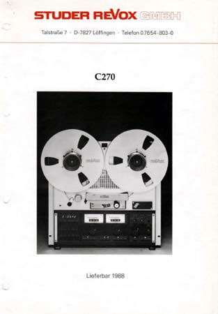 ReVox C270 - Ankündigungsprospekt