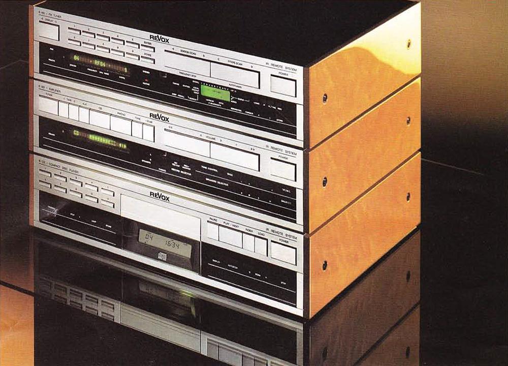 ReVox Serie 100 - Ausführung: Vogelaugenahorn,. Kirschbaum-Lasur, hochglänzend