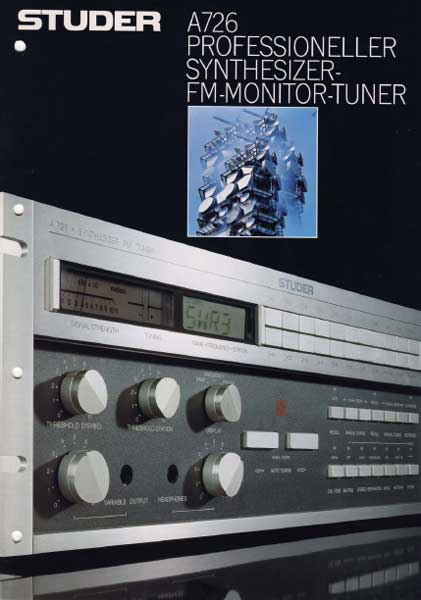 STUDER A726 - Professioneller Synthesizer FM Monitor Tuner