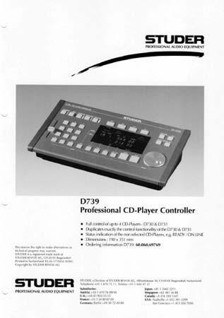 STUDER D739 - Professioneller CD-Player Controller