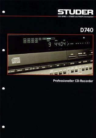 STUDER D740 - Professioneller CD-Recorder