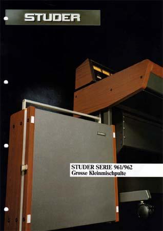 STUDER 961 - 962 Serie - Grosse Kleinmischpulte - Verkaufsprospekt