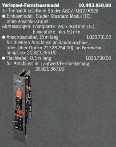 Varispeed Fernsteuermodul